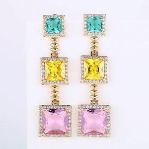 هندسية ملونة مربع مجوهرات زركونيا إسقاط أقراط النساء أزياء النحاس طلاء المعادن أقراط XIUMEIYIZU صيف جديد