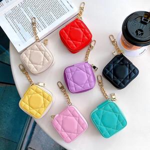 Cuir vintage Vegan place sac de rangement pour TWS d'Apple AirPod 2 Pro Ecouteur Bluetooth Plaid Imprimer Fermeture à glissière Pochette Shell avec placage keychian