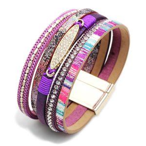 tag Diamante Bohmia oro a più strati Braccialetto largamente magnetico fibbia braccialetto braccialetto del polsino per le donne gioielli di moda la volontà e la sabbia
