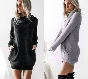 S-5XL Plus Size Winter Long Sleeve Knit Turtleneck Sweater Casual Ladies Mini Dress Autumn Women Clothing44