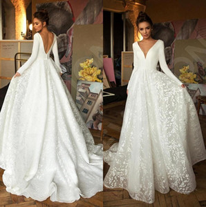 New Modest Long Sleeves Lace A Line Boho Wedding Dresses 2020 V Neck Backless Sweep Train Bridal Gowns robes de mariée AQ119