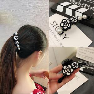 gioielli banane sZEOL coreano semplice fiore verticale della clip copricapo elegante ponytail della clip rotonda grande tornante pendente della perla Banana Pearl