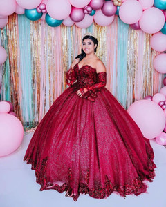 Unique Design Wine Red Detachable Juliet Long Sleeves Quinceanera Prom dresses Ball Gown Glitz Corset Evening Formal Gowns Plus size Cheap