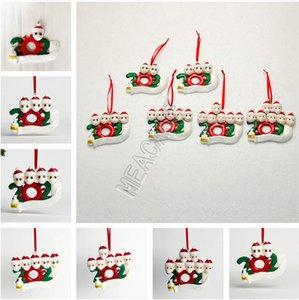 Ornamento de la Navidad la arcilla del polímero de cuarentena familia DIY Familia de 1/2/3/4/5/6/7 wihFace máscara del árbol de Navidad PARTIDO colgantes de cerámica suave Juguetes GWF1792