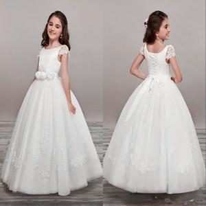 Lovely Flower Girls Dresses For Weddings V Neck Tulle Floor Length Backless Ball Gown Junior Bridesmaid Dresses For Girls Real Image