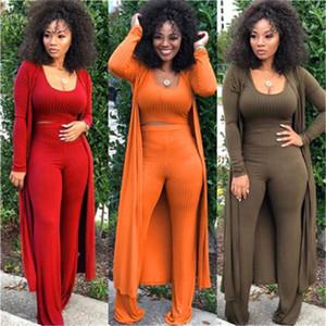 Кардиган Coat Сыпучие Wide Leg Pants Top 3 Piece Set Женский дизайнер высокой эластичностью Tight сексуальные костюмы женщин Вязаная с длинным рукавом Комплекты Мода