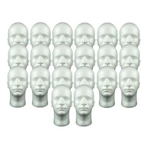 20x Masculino isopor Mannequin Cabeça Display Model manequim cabeça para Wig Óculos