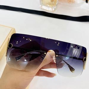 0472 قناع نظارات شمس جديد إمرأة المعادن بدون إطار النظارات الشمسية شعبية الصيف أنيقة النبيلة حماية نمط نظارات UV400 مع حزمة