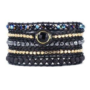 Pietra naturale uomini e donne Vegan Bohemian Nero Mix Beadwork 5 involucri monili del braccialetto Y19051002