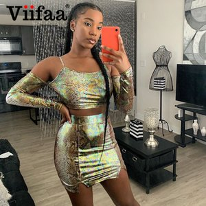 Viifaa Multicolor Snake Skin Print Two Piece Set Sexy Club Outfits Women Crop Top and Split Skirt 2 Piece Set Party X0923