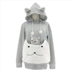 Cat Lovers Hoodie Kangaroo Dog Pet Paw Dropshipping Pullovers Cuddle Pouch Sweatshirt Pocket Animal Cat Ear Plush Hooded Top