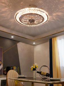 LED Light Luxury Crystal Ceiling Fans Modern Living Room Modern Minimalist Restaurant Negative Ion Ceiling Fan Lights