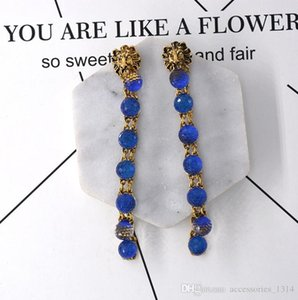 2020 new long European and American exaggerated nightclub wild color ball tiger head earrings earrings female