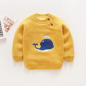 Warm Children's Sweaters Baby Boys Girls Kid Winter Clothing Infant Cartoon Whale Design Pullovers Toddler O-neck Velvet Sweater