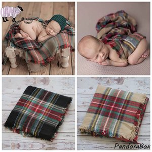Newborn Photography Props Xmas Plaid Blanket Backdrops Infant Baby Photo Shoot Christmas Hat Wrap Blanket Set foto Shooting Prop