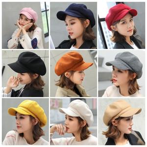 Solide couleur chapeau enfants octogonal de style rétro hiver chaud renforcé chapeau Portraitiste extérieur béret 9 couleurs chapeau octogonale T3I51138