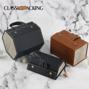 I2YJV Multifunktionales Schmuck Aufbewahrungsbox Mehrgitter Fall caseStorage Gläser boxgift handgemachte Glas kleines Korn PU Leder High-End-Qualität box