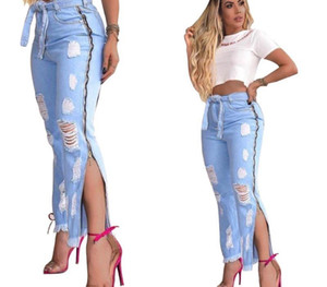 Fashion Trend Womens Jeans Hole Slit Jeans New Listing Women Cowboy Pants Side Zipper Design Casual Trousers Sexy Nightclub00