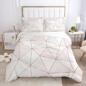 Luxury Bedding Set 3D HD Printed Duvet Cover Set Pillowcases Comforter Quilt Blanket Cover Queen King Pink plaid