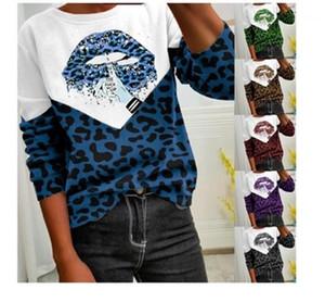 Tops Designer Weibliche lose beiläufige plus Größe Sweatshirts Damen Leopard Langarm Sweatshirts Fashion Trend-Rundhalsausschnitt Lippen Hoodys