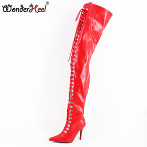 Wonderheel Extreme high heel 12cm stiletto overknee boots matte thigh high boots sex fetish heel lace up crotch