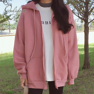 Ordifree Female Sweatshirt Casual Coats Pink Black 2019 Autumn Winter Warm Fleece Women Hooded Sweateshirt Hoodie T200914