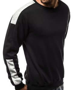 mens designerEuropean size large fleece arm color matching personalized sports sweater33