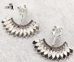 YaYi Jewelry Fashion White Glass Rhinestone Dangle Crystal Earring Women's Fashion Ancient Gold Color Gem Earrings Gift