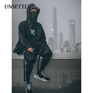 Tedirgin Japonca kazak Erkek Oversize Kapüşonlular Uzun Fleece Cloak Hip Hop Dış Giyim Streetwear Coat Harajuku Stil Erkek T191204 Tops