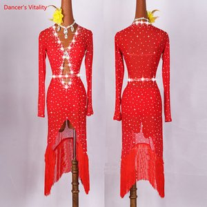 Original Latin Dance Dresses For Ladies Black Red Color Gauze Feminine Clothes Fashion Women Professional Ballroom Suits