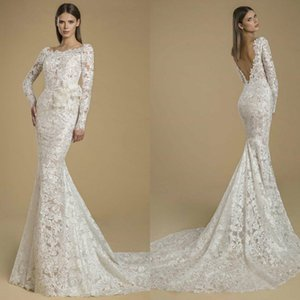 2021 Lace Mermaid Wedding Dresses Applique Jewel Long Sleeves Backless Bridal Gowns Plus Size Summer Garden Wedding Dress