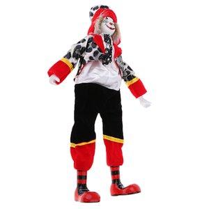 14inch Porcelaine Sourire Clown Doll Porter Tenues Uniforme, drôle Harlequin Doll, Props cirque, Décor Halloween