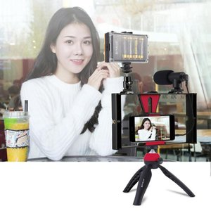 Newest Smartphone Vlogging Rig Set Professional Kit 104 LEDs Light+Microphone+Tripod Phone Stand for Phones Camera