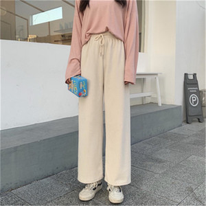 Women's Pants & Capris Women 's Thick Autumn Winter 2021 Solid Color Perppy Style Loose Long Length Trousers Casual Elastic Waist Corduroy