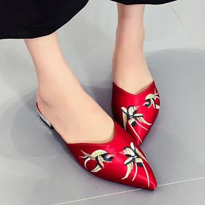 Sandals Woman Shoes Soft Bottom Embroidered Flower Pointed Cloth Mid Heel Fashion Creativity Sandals Women Summer Shoes