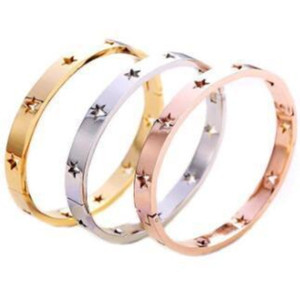 FYSARA Fashion Hollow Star Bangles & Bracelets For Women Trendy Jewelry Stainless Steel Rose Gold Silver Cuff European