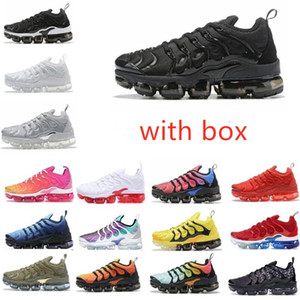 2020 TN Artı Metalik Beyaz Gümüş Üçlü Siyah Erkekler Koşu Ayakkabısı ile Kutusu TN Artı Eğitmen Sneaker Ayakkabı Ücretsiz Kargo