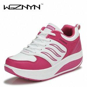 WGZNYN 2020 Нового прибытия Повседневной обувь Женщина Рост Увеличение похудение Свинг обуви дышащей воздуха Mesh Платформа ККА #