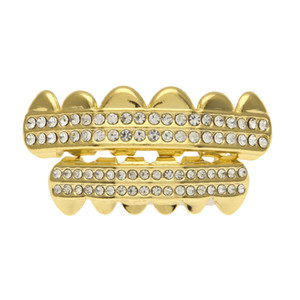 Body Gold Teeth Grills Tooth Caps Grill Set Hip Hop Bling Jewelry Iced Out CZ Crystal Teeth GRILLZ Gold Teeth Top Bottom Men Women