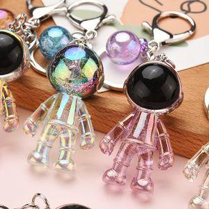 Girls Fashion Colorful Resin Acrylic Astronaut Keychain Cute Transparent Spaceman Keyring Ball Pendant Key Holder Dream Boy Gift