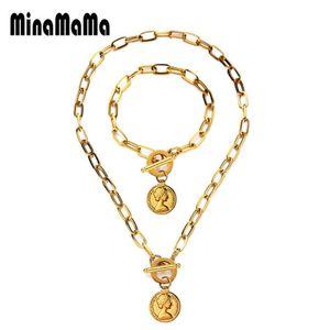 Religiöse OT Schnalle Schönheits-Kopf-Schmucksets Edelstahl Toggle-Münzen-Anhänger-Halskette Armbänder für Frauen
