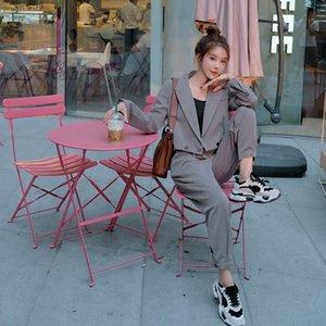 2020 İlkbahar ve Sonbahar Yeni Kore tarzı Pileli ceket Gri küçük takım elbise ceket kadın pileli etek seti harem pantolon iki parçalı set EJGDb EJ etek