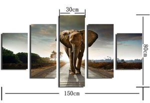 5 Ppcs Elephant Painting Canvas Wall Art Picture Home Decoration Living Room Canvas Print Modern Painting-Large Canvas Unframed