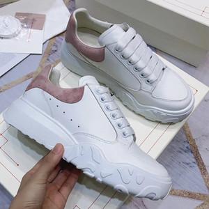Designer da Mulher Platform instrutor Tribunal sneaker 100% couro real lace-up sapatos Branco sapatos 45 milímetros sola de borracha ocasional partido de boa qualidade