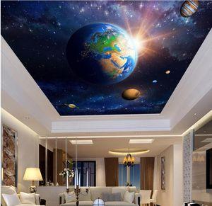 papel de parede Customized Photo Wallpaper 3D Stereo Space planet Ceiling papel de parede 3d wallpaper for walls 3 d