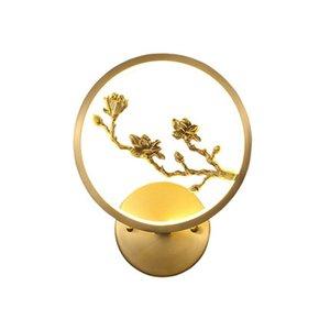 Новый китайский стиль Медь Настенные светильники Спальня Ванная Свет Китайский Antique Гостиная комната изучения Бра Aisle Saircase водить свет стены