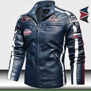 Mode homme Moto Vestes en cuir 2020 Trendy New Biker Veste en cuir avec broderie épaulette hommes Faux Bomber Jacket