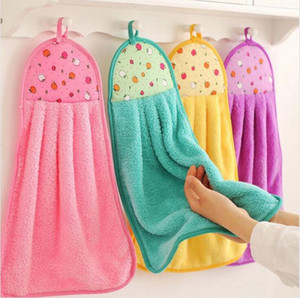 Hand Towel Hanging Kitchen Bathroom Indoor Thick Soft Cloth Wipe Towel Coral Fleece Dish Cloth Cartoon Clean Towel Accessories DHC354