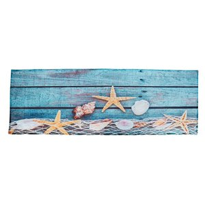 Retro Blue Wood Flooring Fishing Net Conch Shells Starfish Nautical Non-Slip Decorative Bath Mats Rugs For Bathroom Shower Acces