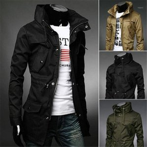 Tops Long Style Mens Trench Coat With Pockets Long Sleeve Slim Outwear Fashion Solid Color Mens